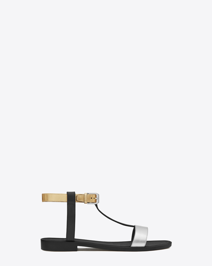 Saint laurent classic nu pieds flat t strap sandal in silver and gold metallic leather and black matte leather