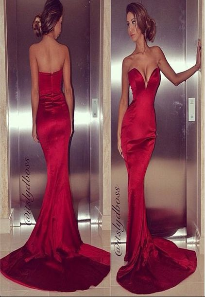 dress red red dress long dress long gown gown formal formal dress mermaid mermaid prom dress fitting dress plunge v neck portia and scarlett v neck dress