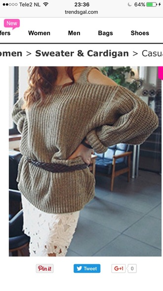sweater knitwear off the shoulder warm fashion style fall outfits trendsgal.com