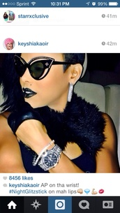 sunglasses,keyshia kaoir,sweater,shirt,shoes,black,cat eye,bling,rhinstones