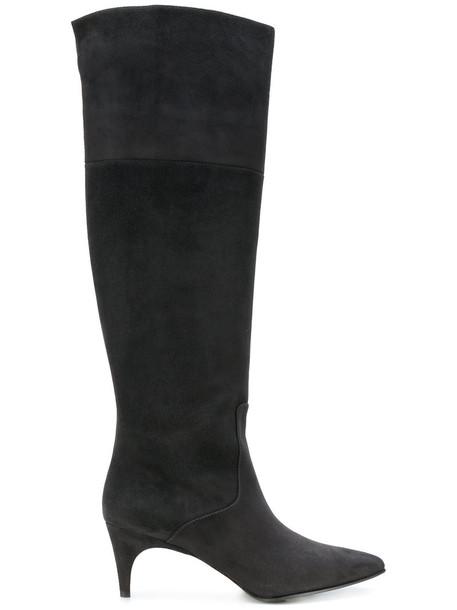 Unützer women leather suede grey shoes