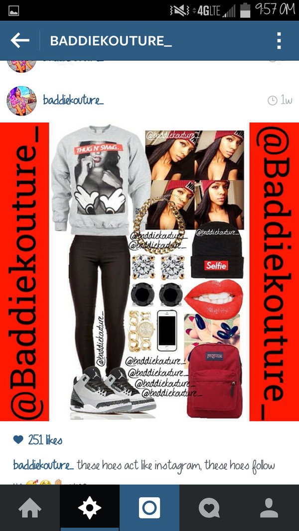 top crewneck selfie hoodie baddiekouture_ shoes instagram outfit sweater black leggings jordans red lipstick iphone backpack