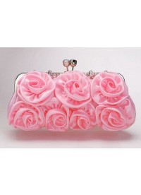 Pink Rose Flower Satin Evening Clutch Bag Phlbbg0006 for $44