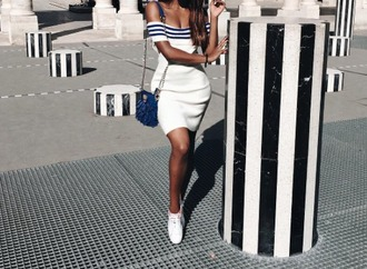 dress off-the shoulder dress blue and white stripes