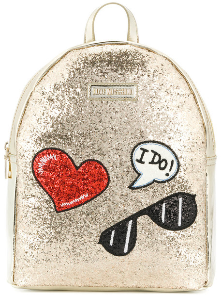 LOVE MOSCHINO glitter women backpack grey metallic bag