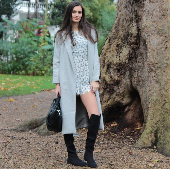 grey coat blogger leather bag bag peexo romper print thigh high boots