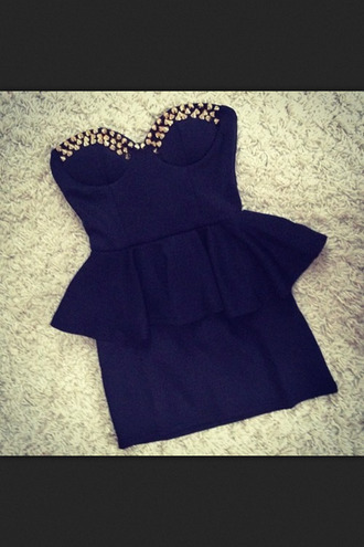 dress black studed black dress spikes studs studded dress basque waist studded black dress ruffle strapless bodycon dress classy gold celebrity style short dress