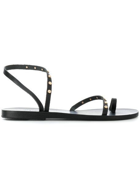 Ancient Greek Sandals studded women sandals studded sandals leather black shoes