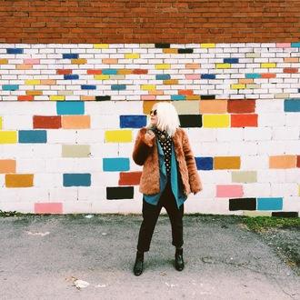 styles by hannah riles blogger pants fuzzy coat rust polka dots
