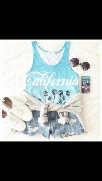 california sunglasses blue denim shorts blue shirt tank top shorts summer outfits vans hoodie jacket distressed denim shorts iphone case
