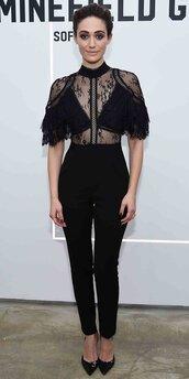 jumpsuit,lace top,lace,emmy rossum,pumps,pants,top,black