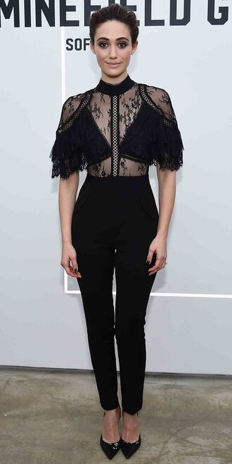jumpsuit lace top lace emmy rossum pumps pants top black
