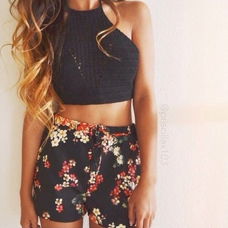 floral  shorts and black crop top top high neck crochet crochet top boho flowered shorts crop tops shorts black colorful spots white red floral flowers print pattern summer spring beach party pool hibiscus black crop top halter crop top mini shorts