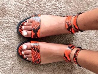 shoes snake skin print flat sandals