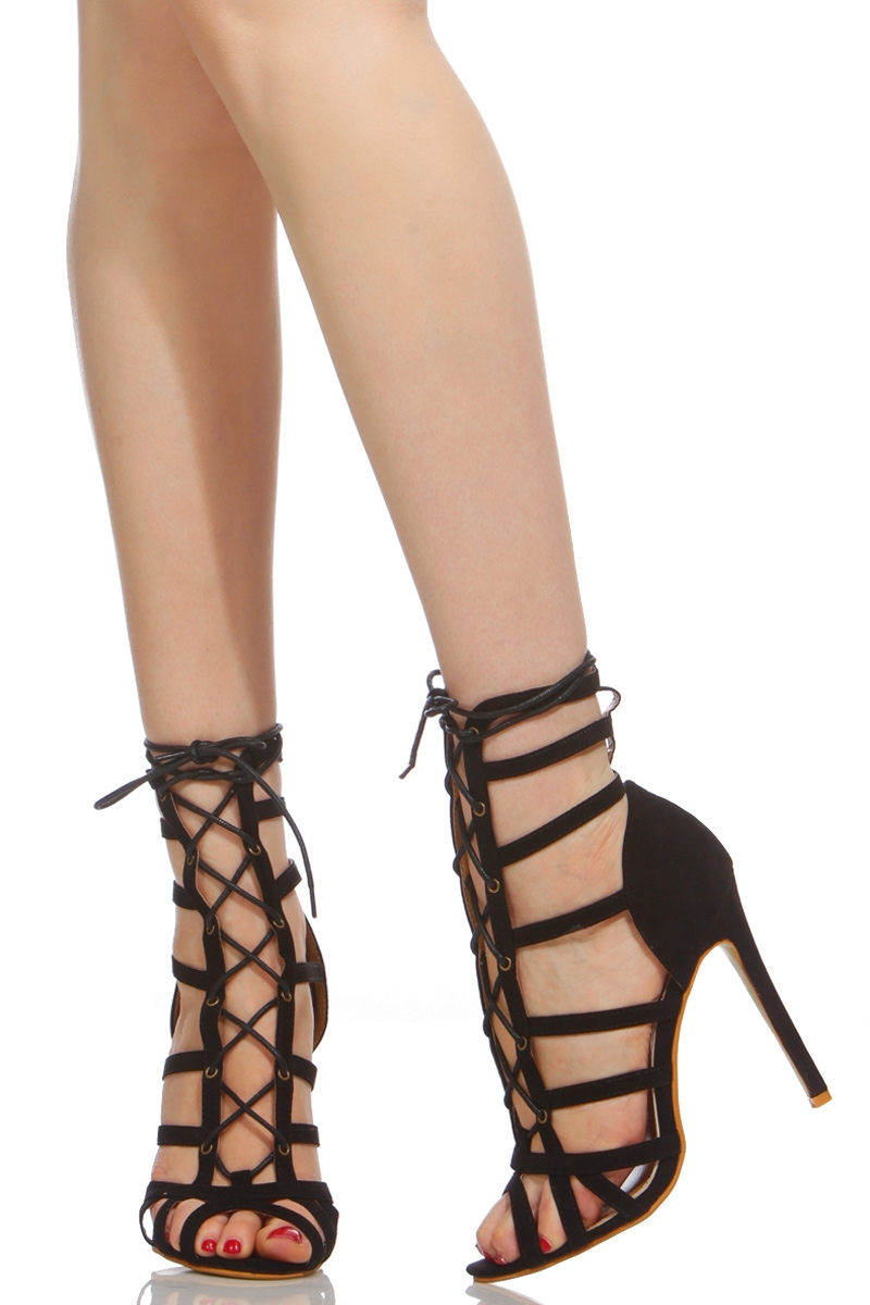 Black Lace Up High Heel Shoes