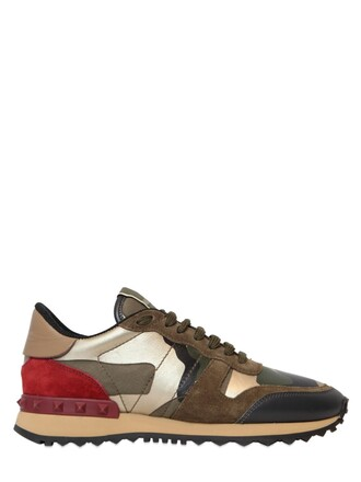 suede sneakers camouflage sneakers leather suede green shoes