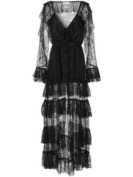 gown metallic women black dress