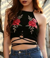 top,crop tops,black,black crop top,floral,embroidered,floral crop top,floral top,crop,cropped,short,mini,lace up,lace up crop top,strappy,strappy top,crop tank top,tank top,black tank top,jeans top,sexy,sexy top,sexy crop top,summer,summer top,camis,preppy,pretty,lookbook,beach,street,streetstyle,streetwear,urban,cool,hot,cute,cute top,girly,girl,girly wishlist,lace,black lace top,casual,fashionista,tight,bodycon,moraki,lace up top,all black everything,holiday season,holiday outfit,tumblr outfit,tumblr girl