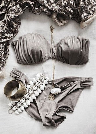 swimwear bikini bikini top bikini bottoms grey summer summer holidays metallic strapless
