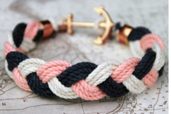 bracelet rope gold anchor