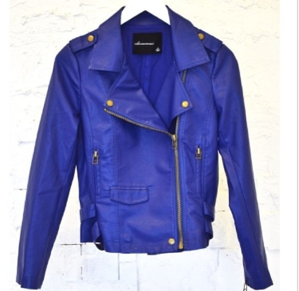 jacket royal blue leather jacket