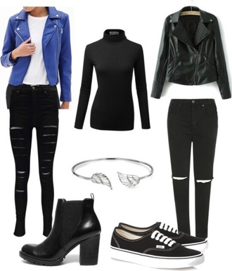 jacket blue black call me baby exo leather jacket black jeans top
