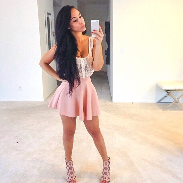 skirt shoes dress nude pink open toe sandals pink skirt lace shirt heels blouse