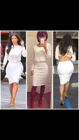 white skirt skirt high waisted skirt kim kardashian