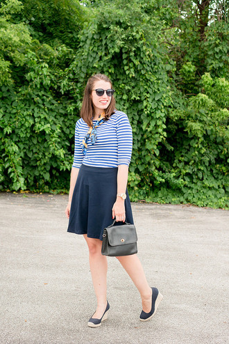 styleontarget blogger t-shirt sunglasses scarf jewels bag skirt shoes striped top blue skirt handbag wedges summer outfits