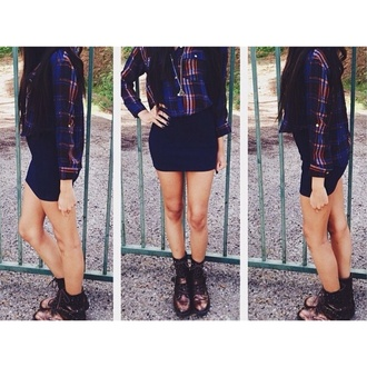 blouse blue black long sleeve dress short dress