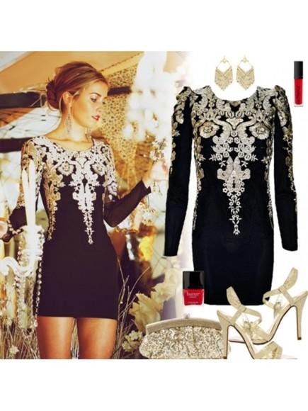 long sleeves homecoming dress sheath dress little black dress vintage dress o-neck dress embrodiery dress