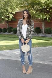 seekingsunshine,blogger,jacket,tank top,jeans,shoes,bag,wedges,camo jacket
