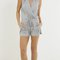 Casual drawstring tank romper - heather grey