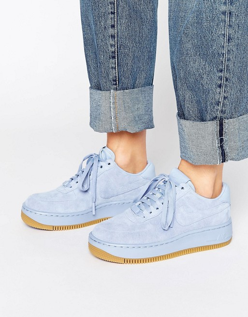 Nike Air Force 1 Upstep Premium Trainers In Blue Suede at