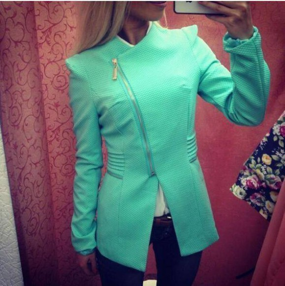 green jacket mint turquoise