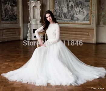 2015 винтаж свадебное платье с длинными рукавами платье линии совок образным вырезом тюль модест мусульманские свадебные платья невесты платье на заказ