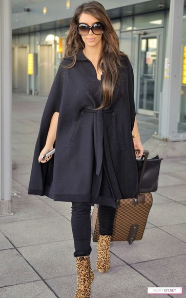 cape coat black cape black coat kim kardashian kim kardashian