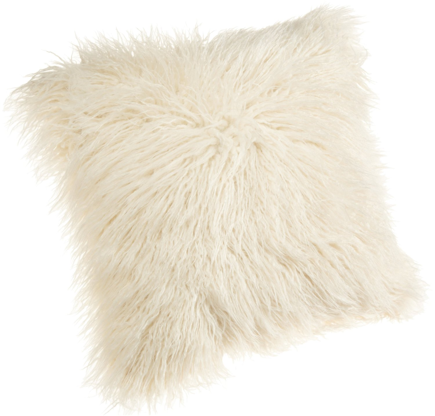 Inch mongolian faux fur pillow, white
