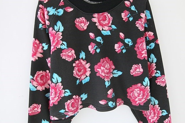 Black Long Sleeve Floral Crop Sweatshirt - Sheinside.com
