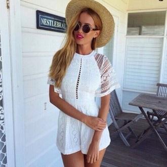 romper white lace hat