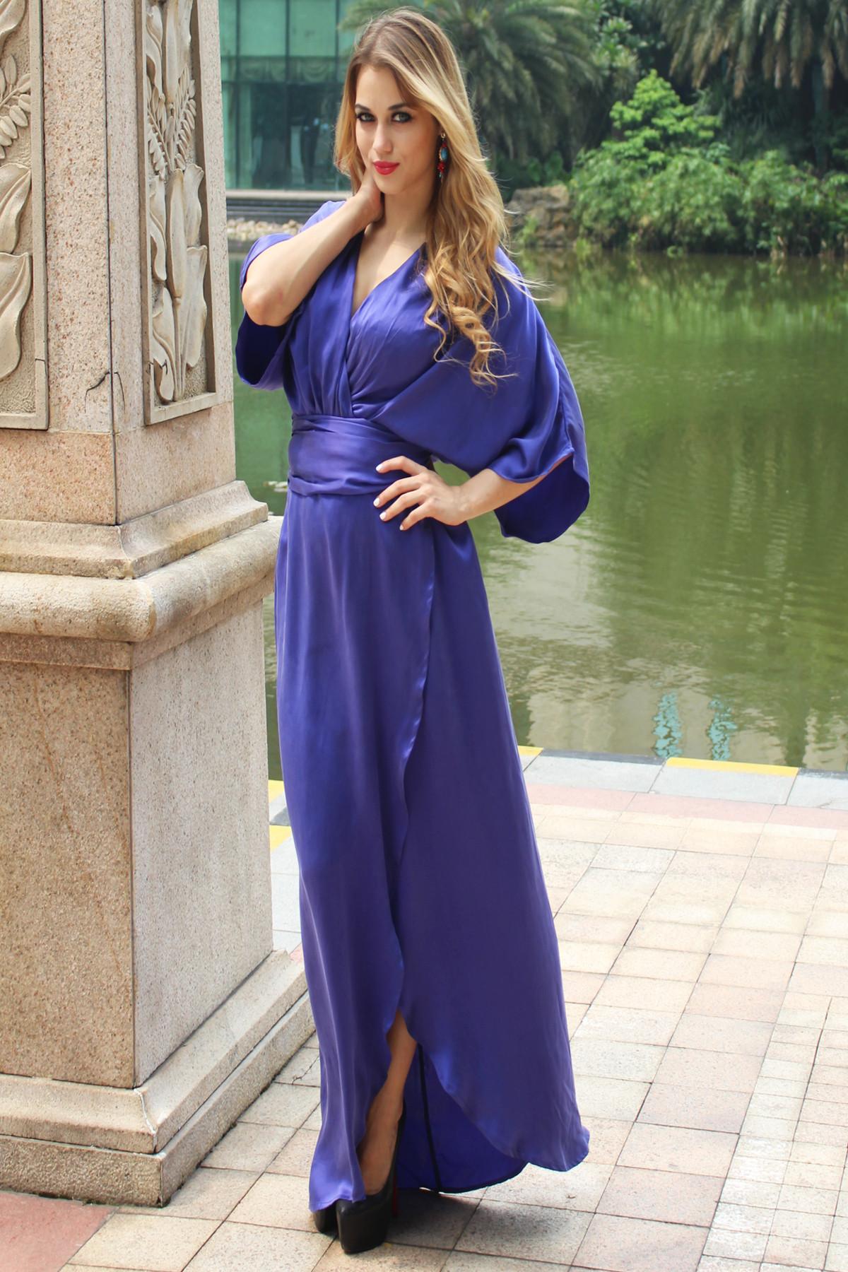 Blue Silk Dress - Blue Flowy Dress