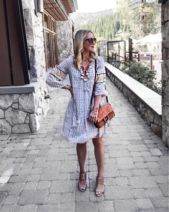 gbo fashion blogger dress shoes bag scarf sandals shoulder bag summer outfits