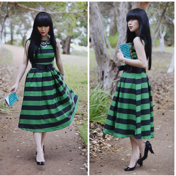 beauty fashion dress spring high heels bag stripe green