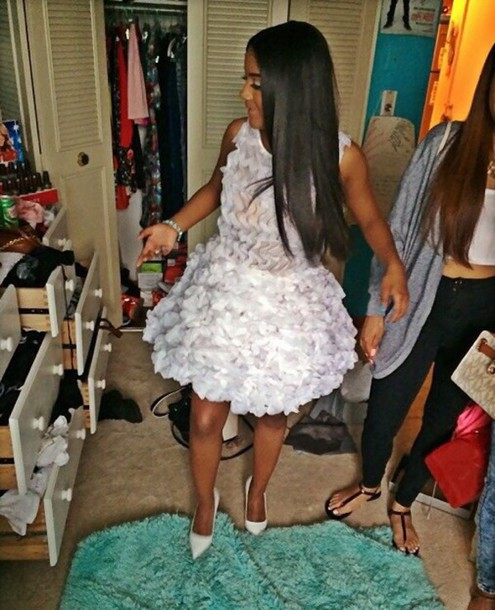 dress white dress off-white bubble dress see through dress sheer prom dress