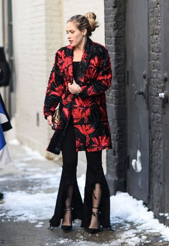 coat nyfw 2017 fashion week 2017 fashion week streetstyle red coat printed coat pants black pants flare pants tights net tights fishnet tights top black top high heels heels black heels ankle strap heels ankle strap 00s style