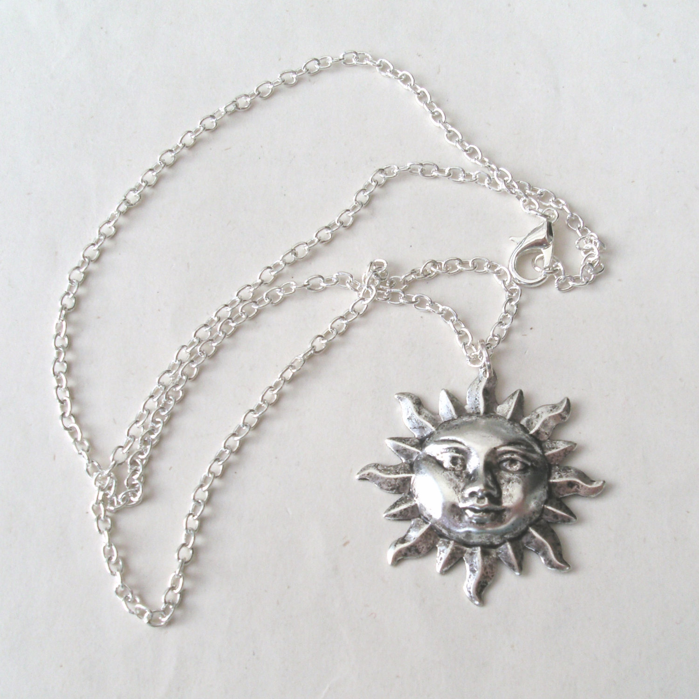 Silver Sun Face Necklace, Sun Necklace