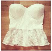 shirt,top,bralette,white,lace,cute,summer,bustier,tank top,peplum top,peplum,white peplum top,girly,crop tops,ariana grande