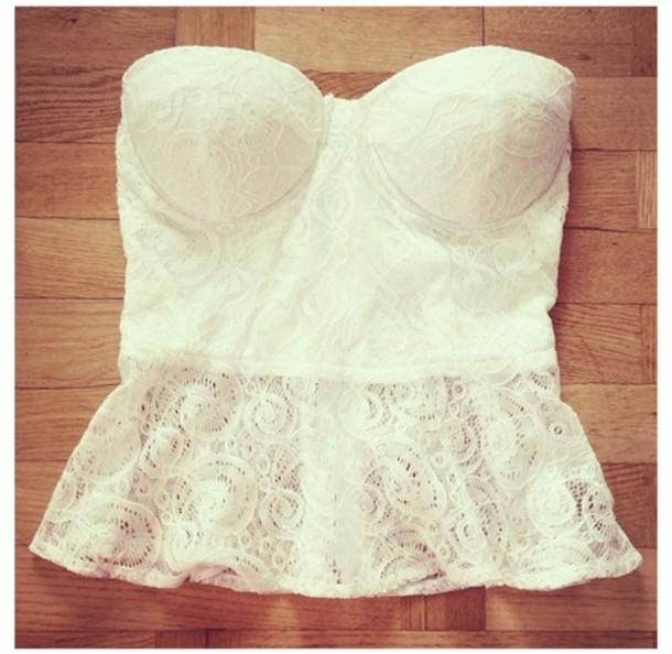 9c1c5b542a6d2 shirt top bralette white lace cute summer bustier tank top peplum top  peplum white peplum top
