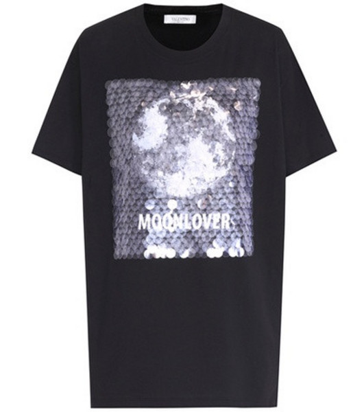 Valentino Sequin-embellished cotton T-shirt in black
