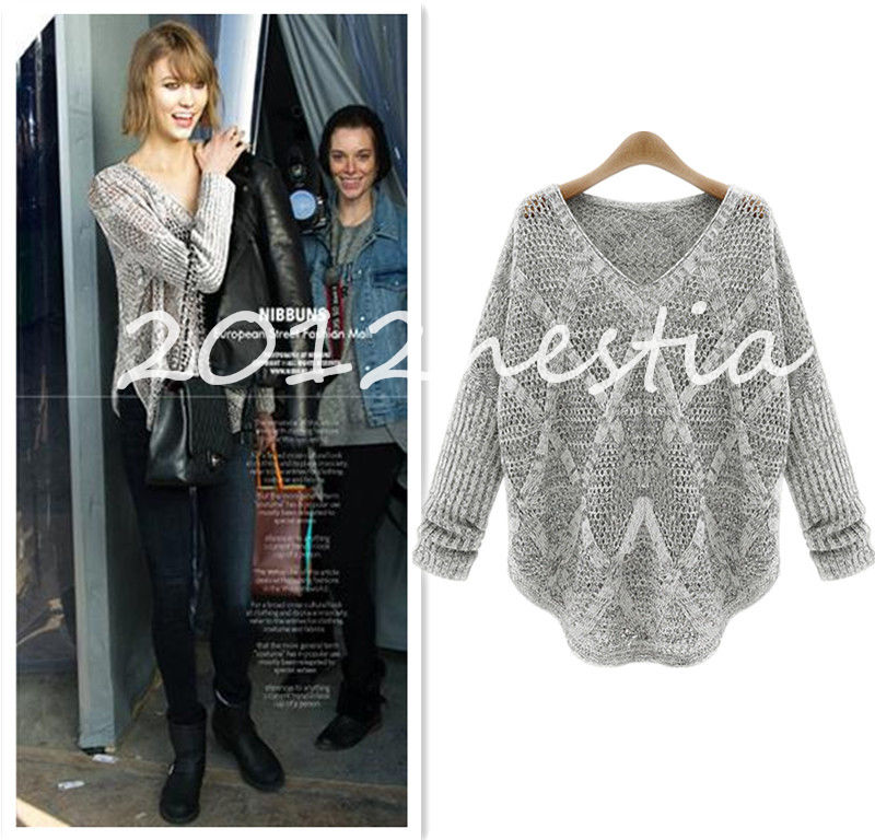 Women loose knitted pullover jumper sweater v neck long sleeve knitwear top new